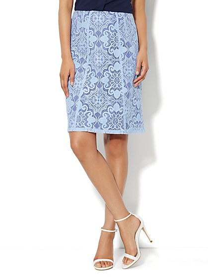 Floral-Lace A-Line Skirt - New York & Company
