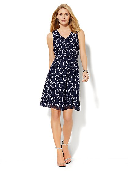 Floral Lace Flare Dress - New York & Company