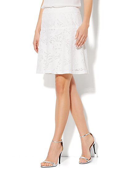 Floral-Lace Flare Skirt - New York & Company