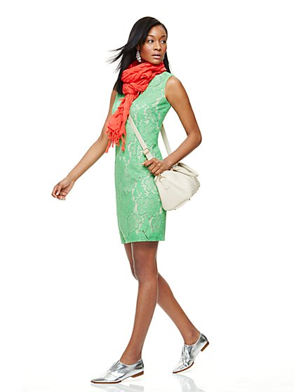 Floral-Lace Sheath Dress