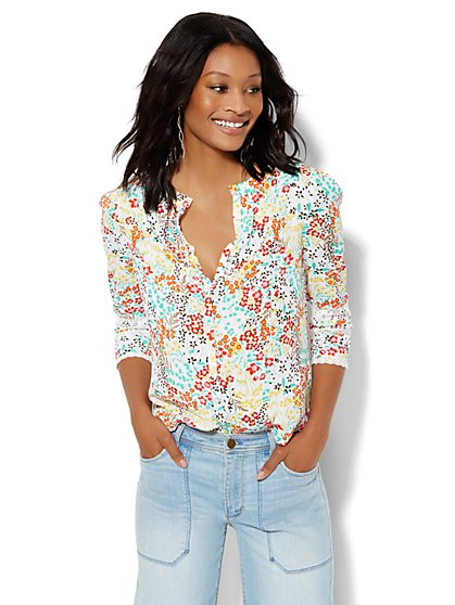 Floral Lace-Trim Blouse  - New York & Company