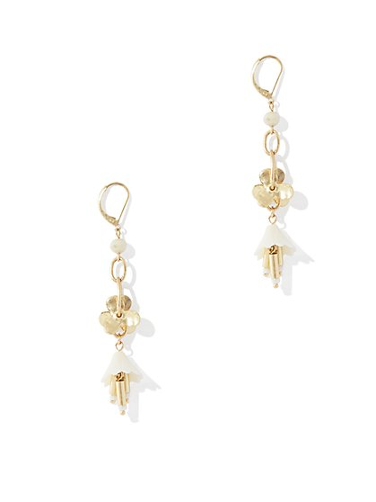 Floral Linear Drop Earring  - New York & Company