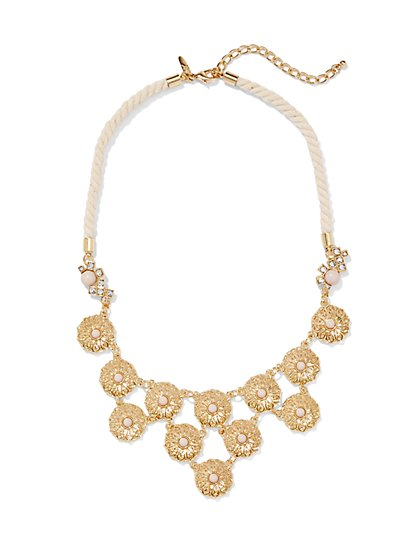 Floral Medallion Rope Necklace - New York & Company