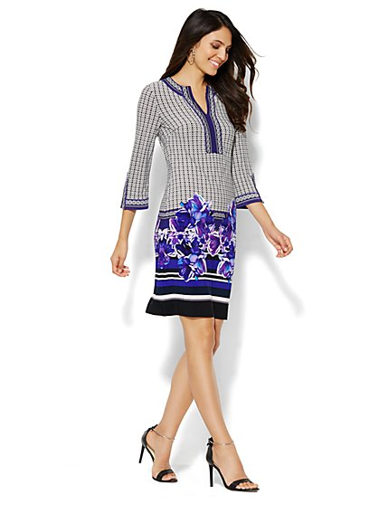 Floral-Mix Tunic Dress - New York & Company