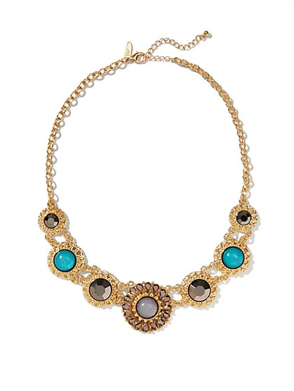 Floral Multi-Color Golden Necklace  - New York & Company