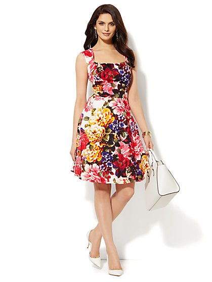 Floral Open-Back Dress - Petite - New York & Company