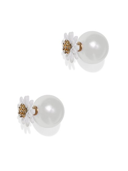 Floral & Pearl Front/Back Earring - New York & Company
