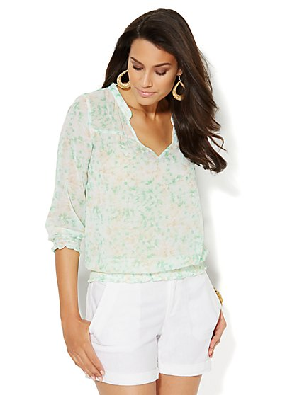 Floral Peasant Blouse  - New York & Company