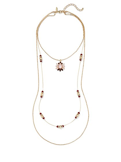 Floral Pendant Three-Row Necklace  - New York & Company