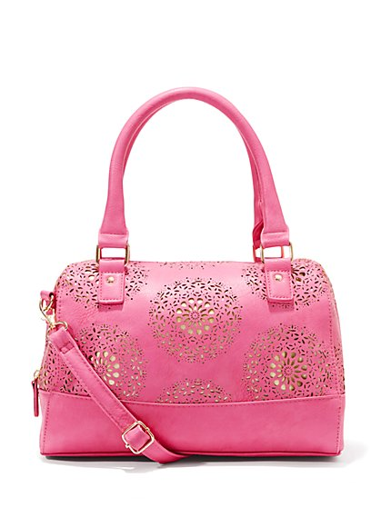 Floral-Perforated Satchel