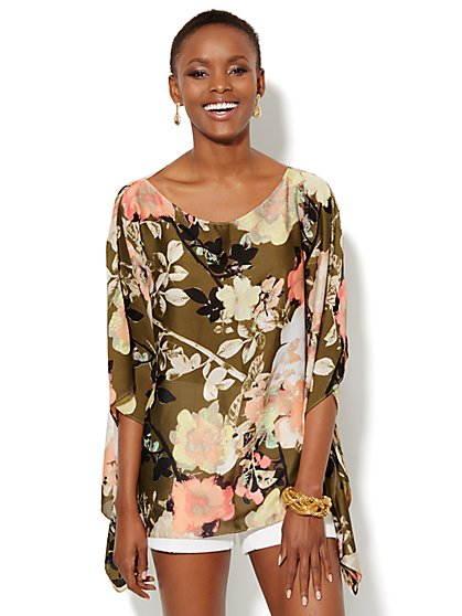 Floral Poncho Top - New York & Company