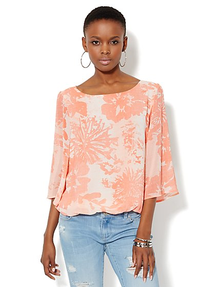 Floral-Print Chiffon Blouse - New York & Company