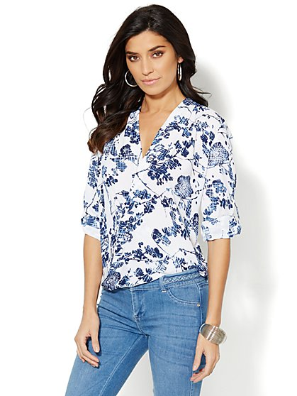 Floral-Print Faux-Wrap Blouse  - New York & Company