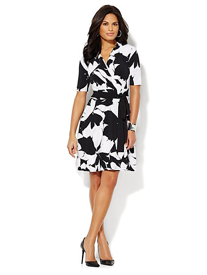 Floral-Print Faux-Wrap Dress  - New York & Company