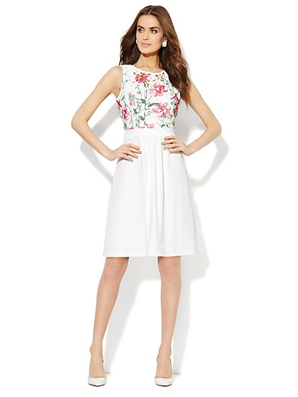 Floral-Print Lace Dress  - New York & Company