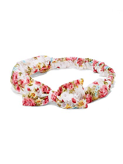 Floral-Print Lace Headband  - New York & Company