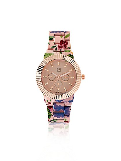 Floral-Print Link Watch  - New York & Company