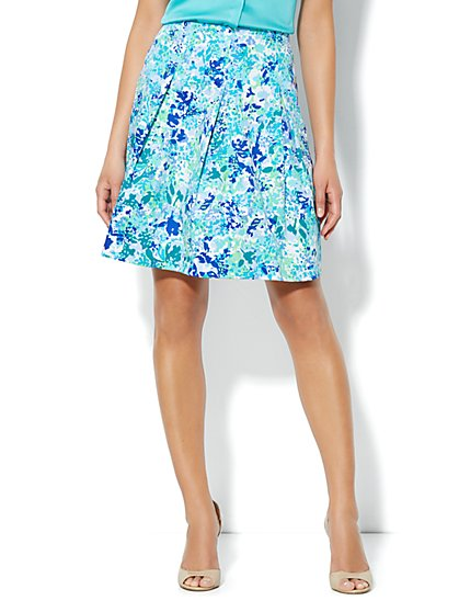 Floral-Print Pleated Skirt - New York & Company