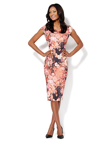 Floral Print Scuba Midi Sheath Dress - Pink - New York & Company
