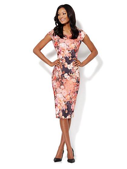 Floral Print Scuba Midi Sheath Dress - Pink - New York & Company