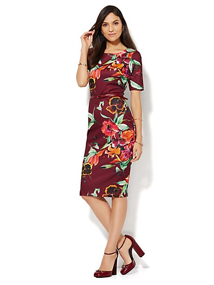 Floral-Print Scuba Midi Sheath Dress  - New York & Company