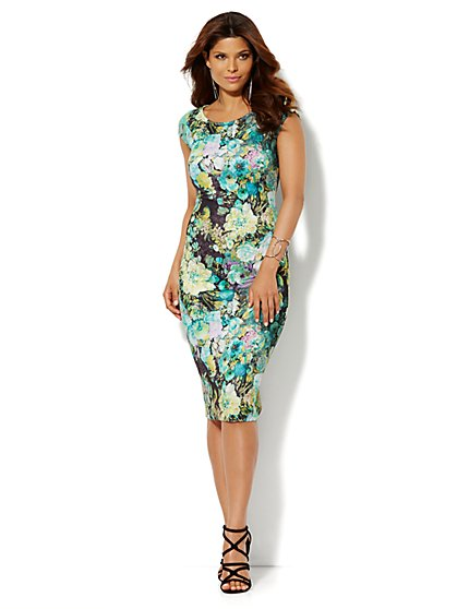 Floral Print Scuba Midi Sheath Dress - New York & Company