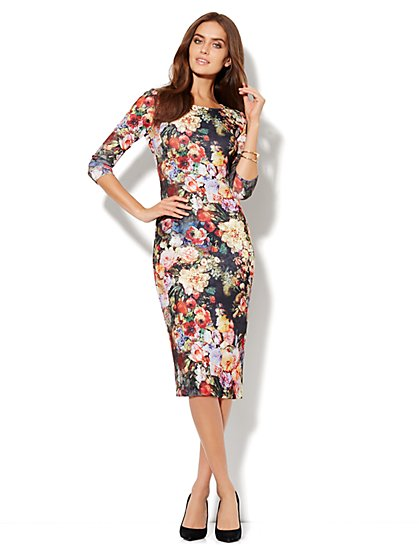 Floral-Print Scuba Sheath Dress - New York & Company
