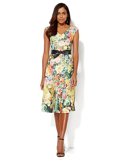 Floral Scuba Midi Flare Dress - New York & Company