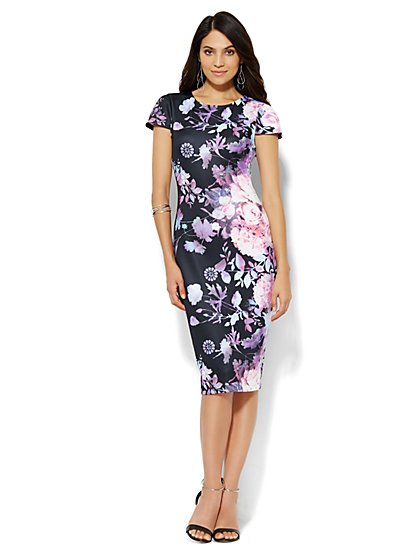 Floral Scuba Midi Sheath Dress - New York & Company