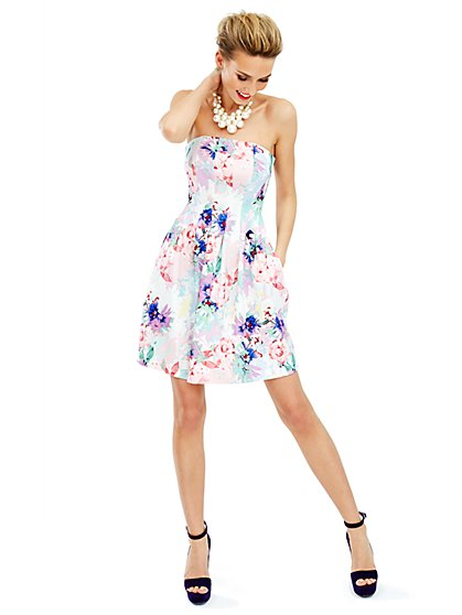 Floral Scuba Strapless Dress  - New York & Company