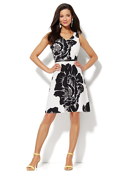 Floral Sleeveless Flare Dress  - New York & Company