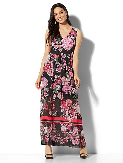 Floral & Stripe Maxi Dress - New York & Company