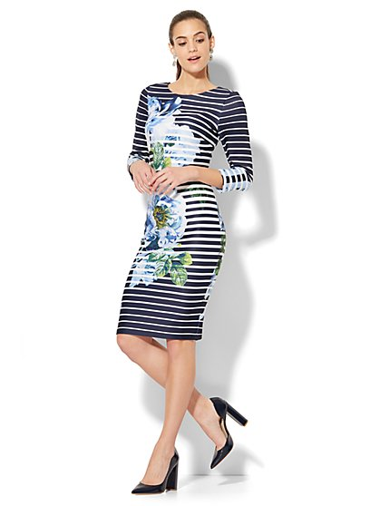 Floral & Striped Sheath Dress - New York & Company