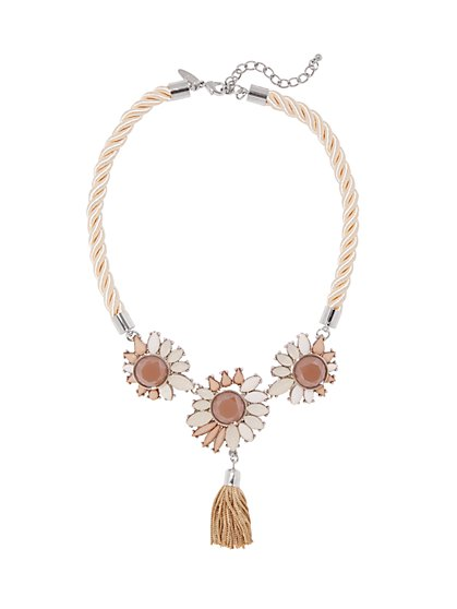 Floral Tassel Pendant Necklace  - New York & Company