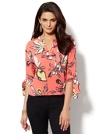 Floral Tie-Sleeve Blouse - Petite - New York & Company