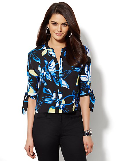 Floral Tie-Sleeve Blouse - New York & Company