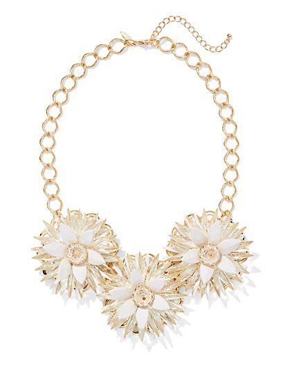 Floral Trio Bib Necklace  - New York & Company