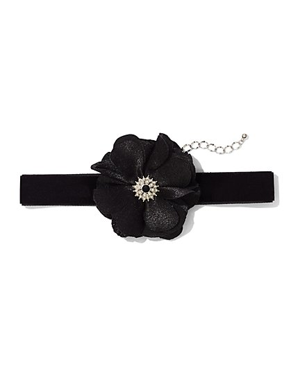 Floral Velvet Choker Necklace  - New York & Company