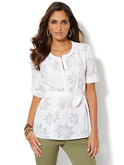 Floral Voile Shirt - Petite - New York & Company