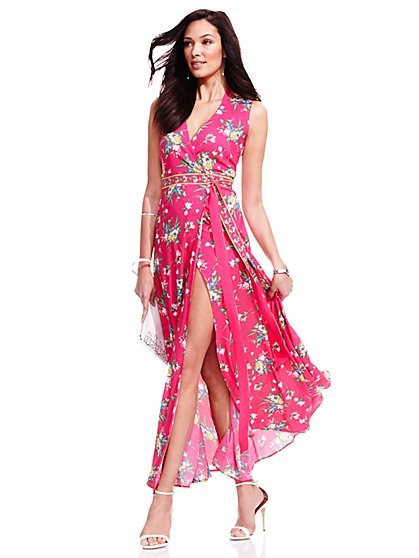 Floral Wrap Maxi Dress - Petite  - New York & Company