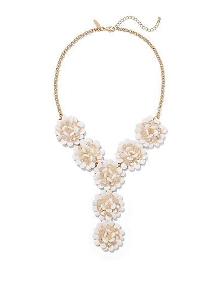 Floral Y-Shaped Necklace  - New York & Company