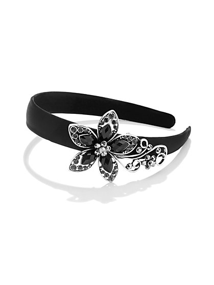 Floral and Glass-Accent Black Headband  - New York & Company