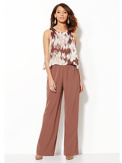 Flounce Overlay Print Jumpsuit - New York & Company
