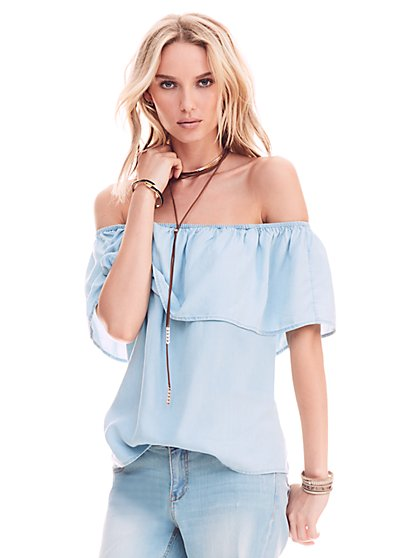 Flounced Off-The-Shoulder Blouse - Light Indigo  - New York & Company