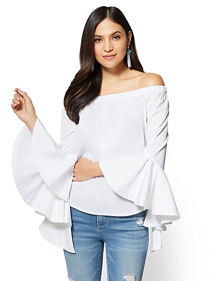 Flounced Off-The-Shoulder Blouse - White - New York & Company
