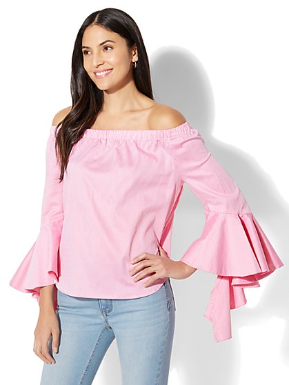Flounced Off-The-Shoulder Shirt - Stripe - New York & Company