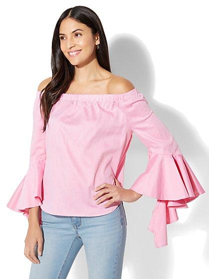 Flounced Off-The-Shoulder Shirt - Stripe - New York & Company
