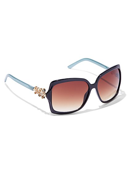 Flower-Accent Rectangular-Frame Sunglasses  - New York & Company