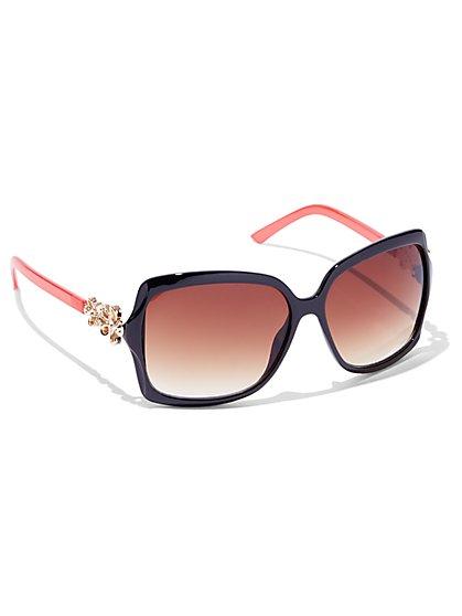 Flower-Accent Rectangular-Frame Sunglasses  - New York & Company