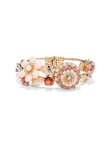 Flower & Pearl Hinge Bracelet  - New York & Company